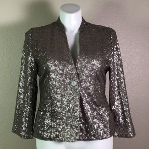 CHICOS PEWTER SILVER SEQUIN JACKET